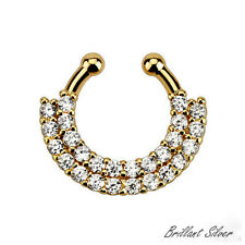 Septum Fake RING ANILLO en la nariz Oro Circonia Cristales blanco