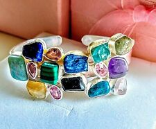 MIXED GEM STONE STERLING SILVER CUFF BRACELET