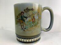Wade SMALL Blue GREEN Shamrock IRISH Porcelain Fishing Men coffee cup mug