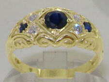 Band Sapphire Round Yellow Gold Fine Rings