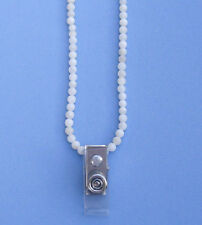 Seashell beaded id badge necklace w clip BDG330001