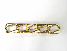 Monet White Enamel and Gold tone Metal Vintage Link Pin Brooch