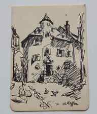 Dessin Charles Kiffer (1902-1992) Superbe bastide aux poules Normandie env 1950