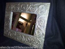 Espejo ESTAÑO Antiguo siglo XX Repujado Altorelieve Decoración Clasica Retro
