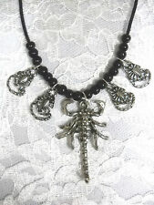 XL PEWTER SCORPION PENDANT & 4 SMALL SCORPIONS CHARMS BLACK BEADED ADJ NECKLACE