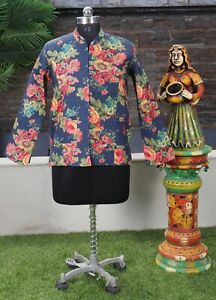 Women Quilted Jacket Reversible Casual Wear Handmade Cotton Blue Floral Blazer