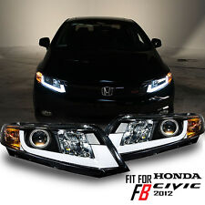 "12-15 Civic Coupe Sedan FB FG Black ""TRON TUBE"" Projector Headlights Headlamp"