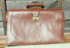 Vintage Briefcase Gladstone Bag Case Brown Tan Leather 1950s