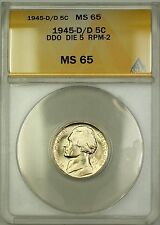 1945-D/D RPM-2 DDO DIE 5 Wartime Silver Jefferson Nickel 5c Coin ANACS MS-65 (D)