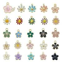 Lot 40x Mixed Assorted Enamel Daisy Flower Series Pendant Charms DIY Accessories
