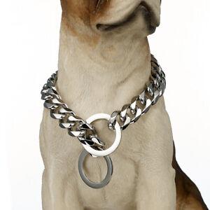 "15mm Stainless Steel Dog Curb Cuban Chain Collar For Pitbull Doberman 12""-32"""