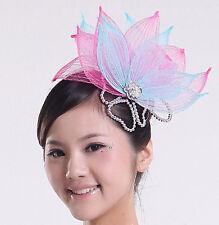 Blue Pink Flower Race Prom Performance Dance Party Hair headpiece Fascinator