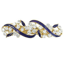 Gold Tone Metal French Clip Faux Crystal Inlaid Blue Hairclip Barrette LW