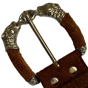 Mens Vintage Leather Belt Brown 90 cm 36 inches Dogs J4