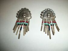 VINTAGE STERLING SILVER INDIAN OR AZTEC EARRINGS~RARE