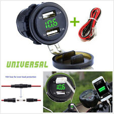 12-24V Motorcycle ATV Dual USB Charger Socket 4.2A Green LED Voltmeter+10A Fuse