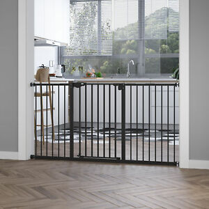 Pet Safety Gate Retractable Divider Home w/ 3 Extensions and Adjustable Screws