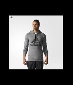 New Authentic Men's adidas climawarm Hoodie Ultimate Ill Po Gray Black Large XL