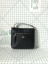 Coach F34823 Pebbled Leather Zip Large Crossbody Bag In Black