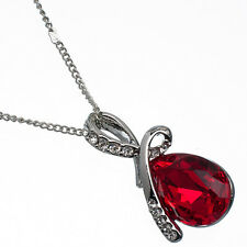 8.56 Ct Pear Cut Style Shape Red Garnet / Ruby CZ 18K White Gold Plated Pendant
