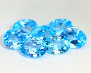 7 Swiss Blue Topaz loose 9x7x4mm natural gemstones 15 carats oval faceted lot