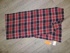 HUGO BOSS Soft Cotton Scarf Red Blue Beige Check Plaid Checker Pattern NOVER