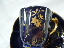 Antique French Cup Saucer Demitasse Raised Gilded Quatrefoil Rare Floral Handle