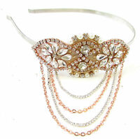 Rose Gold Silver Ivory Pearl Headband Headpiece Vtg 1920s Flapper Diamante 695