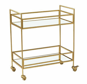 Fairmont Drinks Trolley Home Bar Cart Drink Display with Two Glass Shelves Gold