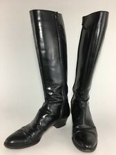 Salvatore Ferragamo Tall Knee High Black Leather Boots Sz 7 SS Zip Up
