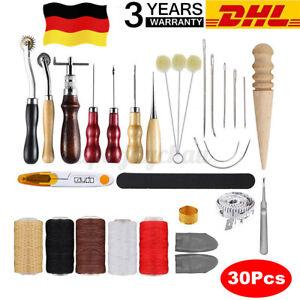 30tlg Leder Handwerk Werkzeug Set Nähen Stanze Schnitzen Craft Sewing DIY Kits