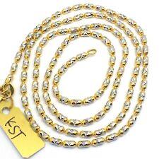 18k solid gold 2 tone diamond cut long beads chain 8.6 grams