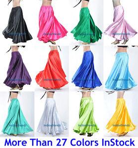 360 Full Circle Satin Long Skirt Swing Belly Dance Costumes Tribal 9 Yard Gypsy