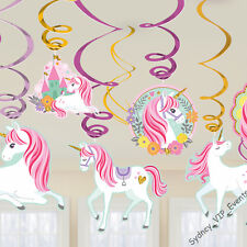 GIRLS BIRTHDAY PARTY MAGICAL UNICORN HANGING SWIRLS DECORATION 12PCS SWIRLING