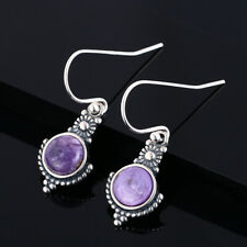 Vintage 925 Silver Women Natural Round Charoite Princess Earrings Dangle Hook