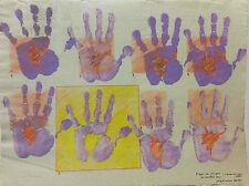 Pop art huit paysages mains grande gouache signée Joelle Capella 1980