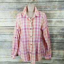 The North Face Size XL Pink Purple Yellow Plaid Button Up Shirt Top Long Sleeve