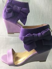 Purple Wedge Sandals Kitsch Unusual Bow Ankle Two Tone EU 38 / UK 5 W949