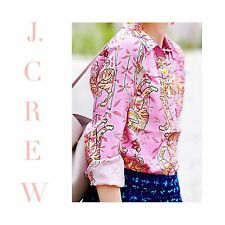 J CREW COLLECTION DRAKE'S Perfect Shirt Pink Peony Bengal Tiger Sz 2 F5991 NEW