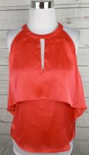 New Guess Tiered Halter Top Large Rouge Pink