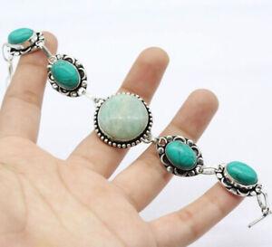 "Amazonite 925 Silver Plated Handmade Gemstone Bracelet of 7.5"" Ethnic Gift"