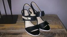 Women's Easy Spirit anti gravity high heel strap leather shoes, size 9w