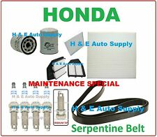 08-12 HONDA ACCORD 2.4L TUNE UP KITS: SPARK PLUGS, BELT; AIR, CABIN & OIL FILTER