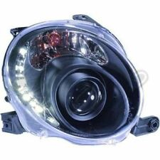 Headlight set with daytime running lights FOR Fiat 500 BJ from 07- clear / black