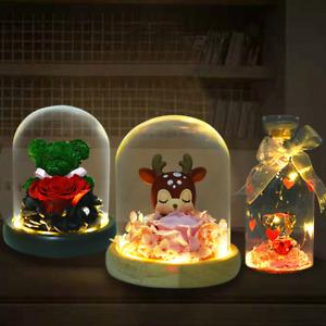 Crystal Bear In Glass Wishing Bottle LED Light Rose Unicorn Figure Doll Gifts