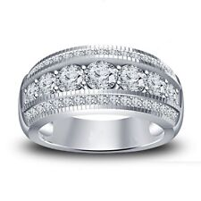 White Gold Over Channel Set Diamond Mens Wedding Band Engagement Ring