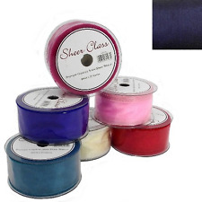 50mm wired organza chiffon ribbon flowers wedding 2 5 20m lengths CHOOSE COLOUR-