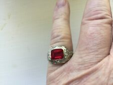 Mens Ring, Verneuil Ruby, 10K White Gold