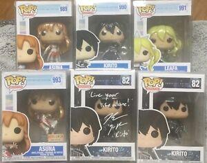 (6) Sword Art Online Funko Pop Lot, Kirito Signed JSA, Asuna Box Lunch, Leafa