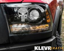 2x Punisher Skull Logo Headlight Decals Etched Glass Vinyl Sticker Mopar